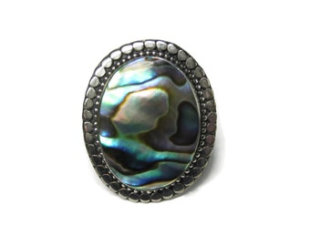 Vintage Abalone Ring Sterling Size 9.5