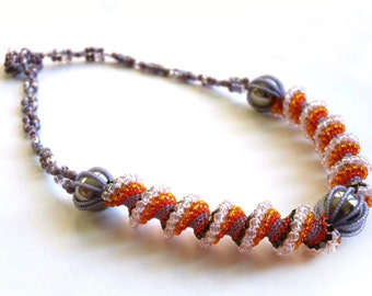 Beadwork necklace, beaded necklace, beadwoven necklace one of a kind jewelry, Cellini necklace, orange violet beads necklace