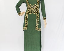 Gold Floral Embroidery Dress - Modest Abaya Caftan Dress - One Size Long Sleeved Green Dress fit to L