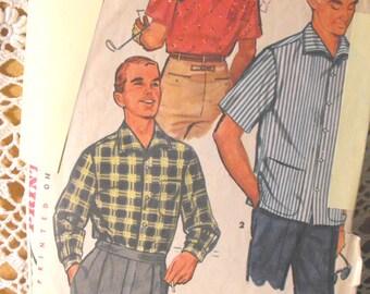 Simplicity  1407 Vintage 1960s MEN'S SPORT SHIRT  long or short sleeves back yoke Size Medium 38-40