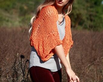 Orange hand knit loose weave shrug, women's cropped sweater, handmade burnt orange bolero, cotton viscose shrug