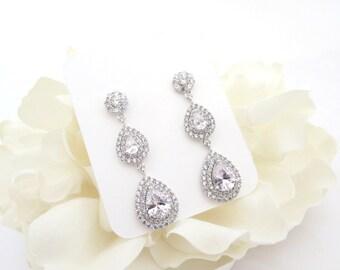 Crystal Bridal earrings, Teardrop Wedding earrings, CZ earrings, Bridal jewelry, Long earrings, Cubic zirconia earrings, Rhinestone earrings