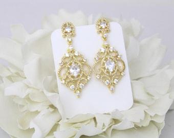 Gold Wedding earrings, Chandelier Bridal earrings, Crystal earrings, Bridal jewelry, Wedding accessories, Bridesmaid earrings, CZ earrings
