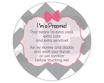Girl Preemie sign, newborn, baby car seat tag, baby shower gift, stroller tag, baby car seat sign