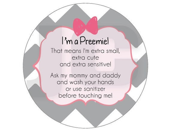 Girl Preemie, newborn, baby car seat tag, baby shower gift, stroller tag, baby car seat sign