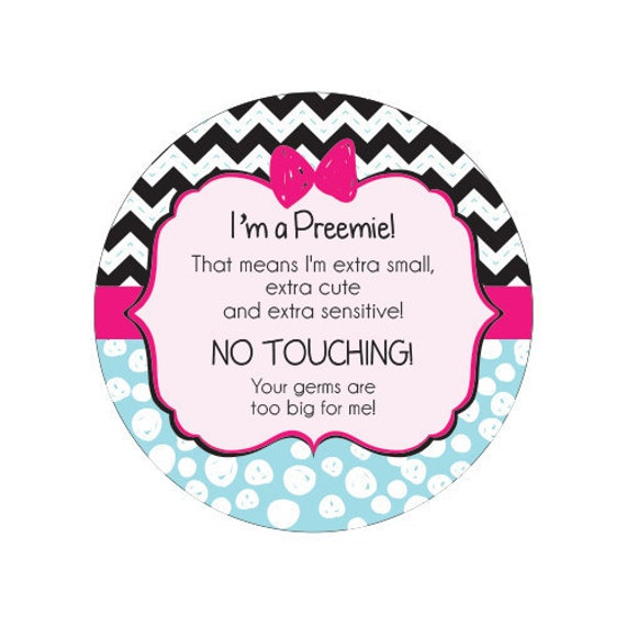 Girl Preemie, newborn, baby car seat tag, baby shower gift, stroller tag, baby Preemie no touching car seat sign