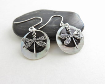 Silver Dragonfly Earrings - Dragonfly Jewelry, Black Shell Earrings, Mussel Shell Earrings, Sterling Silver Earrings, Dragon Fly Jewelry