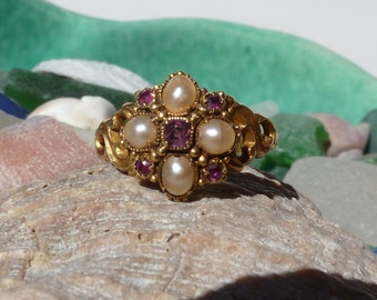 Antique Victorian Art Nouveau 18K Ruby Pearl Locket Ring Mourning or Remembrance