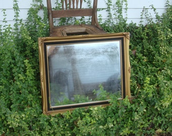 Vintage Gold Wooden Rectangular 24x20 French Provincial Wall Mirror