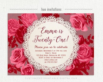 21st birthday party invitation, burgundy maroon red roses and stripes lace doily birthday invitation for women, customized printable invite