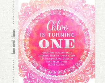 1st birthday invitation, pink lace first birthday party invitation, watercolor doily girly printable digital file jpg or pdf n120