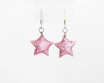 Glitter Star Earrings, Pink Star Dangle Earrings, Christmas Star Earrings, Iridescent Sparkle Earrings, Cute Resin Plexiglass Jewelry