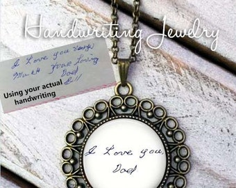 Handwriting necklace - custom handwriting necklace, Your custom handwritten message - handwriting jewelry, handwriting memorial, handwritten