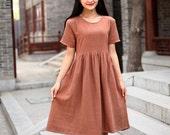 Cotton dress Casual loose dress Short Sleeve Tunic Linen blouse Plus size dress Summer Large size dress Plus size clothing Women Dresses