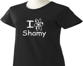 Big Bang Theory T-Shirt I Love Shamy Atomic Symbol TBBT Womens