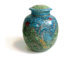Summer Garden Cremation Urn/Handmade Pottery/Unique One of a kind vessel/Adult size