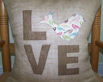 Bird pillow cover, Burlap Love,  Bird Pillow Cover, Burlap pillow, Farm house decor, FREE SHIPPING!