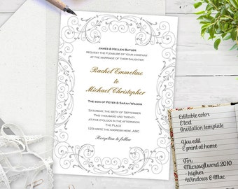 Printable diy wedding invitation template-wedding Invitation Download instantly-DIY invites-Gray-FEI-T23