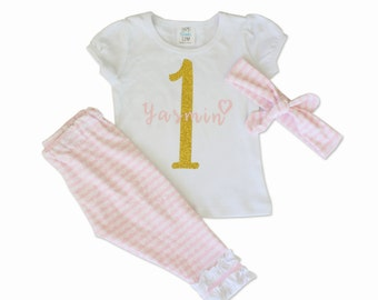 Pink and Gold First Birthday Outfit - Girls - Birthday Outfit - Personalized