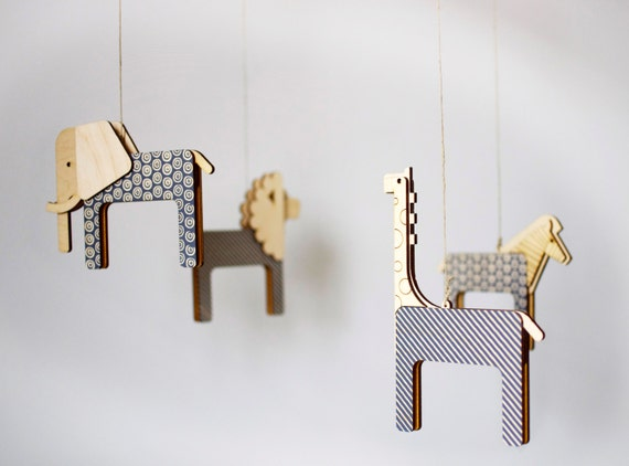 Unique nursery mobile lasercut wood mobile gender neutral for Unusual baby mobiles