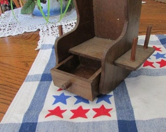 SEWING SPOOL ROCKER-Wooden Thread Holder with Drawer- Thread Spool Holder Pin Drawer