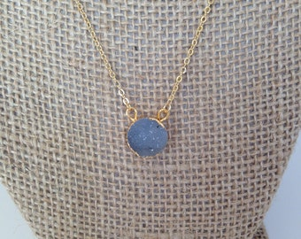 Dainty Natural Grey Druzy Pendant Necklace 14K Gold Filled // Boho Jewelry // Boho Luxe // Boho Necklace