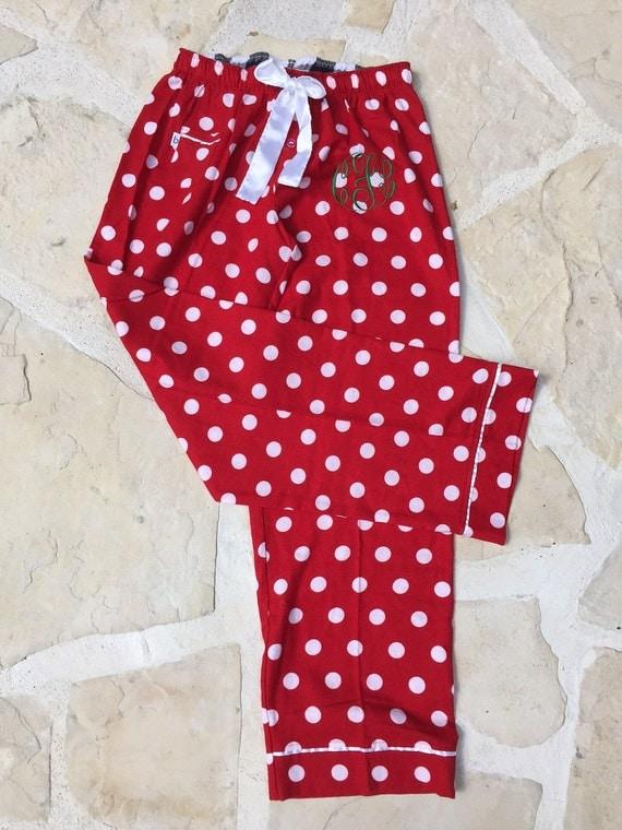 Monogrammed polka dot flannel pajama pants