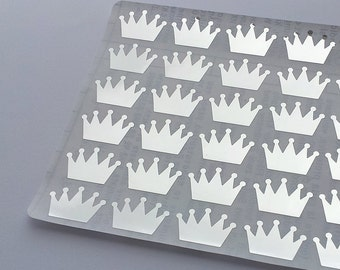 60 Metallic Silver Crown Stickers, Crown Planner Stickers, Envelope Seal, Party Stickers, Wedding Stickers, Birthday Stickers, Invitation