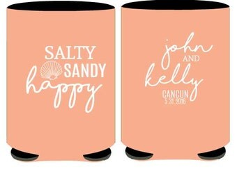 Beach Wedding Theme - Salty sandy happy Can Cooler Personalized Wedding can huggers -  Beach Wedding Can coolers - free shipping (27)