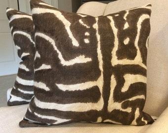 Ralph Lauren SERENGETI  Pillow Cover in Deep Mahogany  Linen, Linen Backing