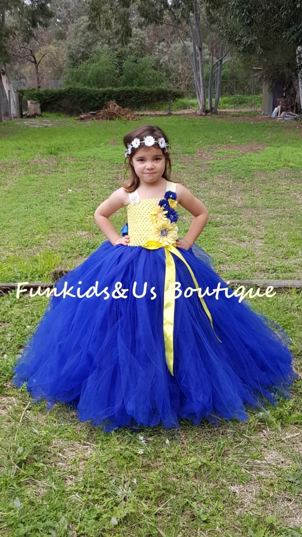 Yellow And Royal Blue Flower Girl Wedding Tutu Dress Triple