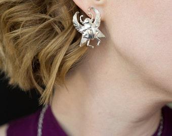 Scarab earrings silver scarab earrings Scarab jewelry Egyptian scarab Egyptian earrings gold beetle earrings bug earrings bug jewelry