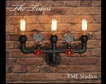 The Triton - Industrial Steampunk Black Pipe Light Fixture with Pressure Gauges and Vintage Edison Bulbs