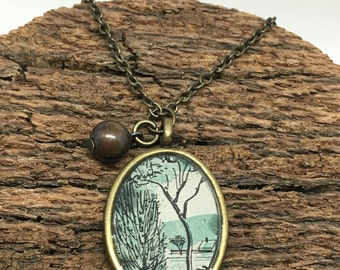 Vintage Book Page Tree Landscape Pendant Necklace with Charm
