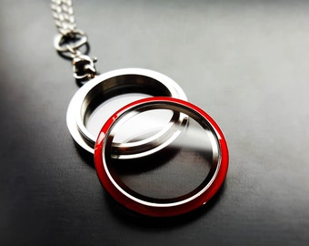 Red Floating Locket-30mm (Large) Stainless Steel-Gift Idea for Women