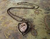 Clockwork Heart & Crown pendant on 20-inch brass ball chain
