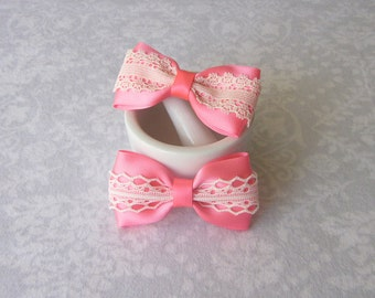 Bright Pink Satin & Off-White Ivory Lace Bow, Girls Hair Accessory, Barrette, Ponytail, Clip, Toddler, School, Photos, Pigtails, Headband