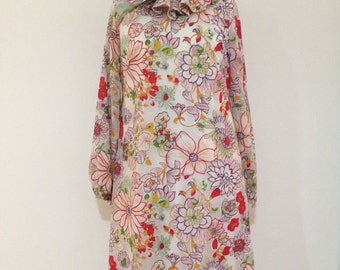 Vintage 60s Mod Dress, 60s Floral Dress, 60s Mod Midi Dress, 60s Mod Floral Dress, 60s Mad Men Style Dress, Megan Draper Dress, 60s Dress