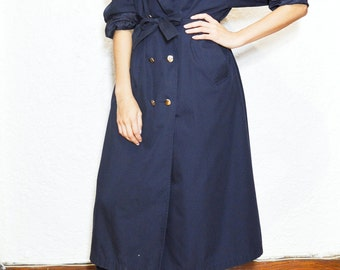 Long navy military trench coat
