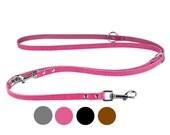 Adjustable Leather Dog Leash Multi Functional European Lead 4 to 6 feet long Brown Black