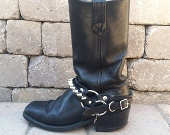Genuine Black Leather Boot Strap With Nickel Tall '77 Studs **Single Boot Strap**
