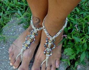 Blue Beaded Hippie Hemp Barefoot Sandals// Slave Anklet Set// Boho Anklets