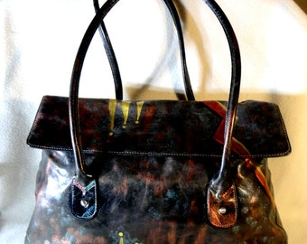 "Kenneth Cole Leather Handbag, Roomy ! Hand Painted,  "" Pizzazz""  , One of A Kind"