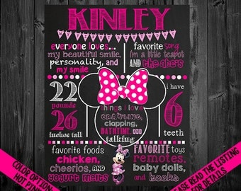 Minnie Mouse Birthday Chalkboard Poster DIGITAL FILE
