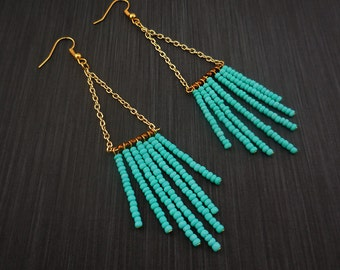 Turquoise Fringe Earring Beaded Earring Fringe Earrings Gift Idea