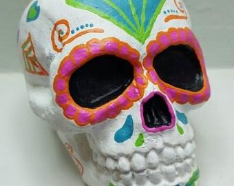 Sugar Skull, Calavera Home Decor, Day of the Dead Skull, Dia de los Muertos Figure, Painted Concrete Statue