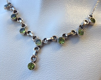 Peridot Sterling Silver Y Necklace | August Birthstone Necklace | Gemstone Necklace |  Peridot Necklace | Green Modern Necklace |