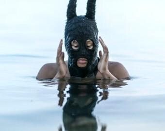 BLACK BUNNY Winter Mask - Fuzzy Socky Bunny Balaclava for Men and Women - Surreal Mask - Cotton Knit Beanie - Ski Mask - Rabbit Ears - Gift