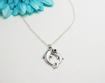 Dolphins Necklace - Charm Necklace - Dolphins Pendant - Silver Dolphins Charm - Mother Daughter Dolphins Necklace - Dolphin Jewelry