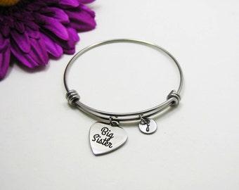 Big Sister Bracelet - Big Sis Bracelet - Expandable Charm Bracelet - Initial Bracelet - Sister Gift - New Baby Little Sister - Middle Sister